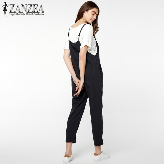 ZANZEA 2018 Rompers Womens Jumpsuits Casual Pockets Sleeveless Strap Solid Loose Jumpsuits Female Summer Plus Size Ovearalls