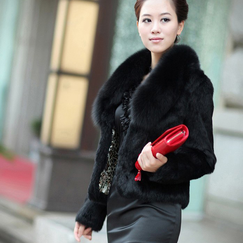2019 New Brand Real Rabbit Fur Coat Big Natural Genuine Fox Fur Collar Customize Plus Size
