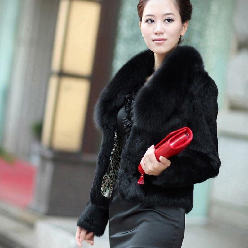 2019 New Brand Real Rabbit Fur Coat Big Natural Genuine Fox Fur Collar Customize Plus Size Jacket Factory Outlet Fur KSR30
