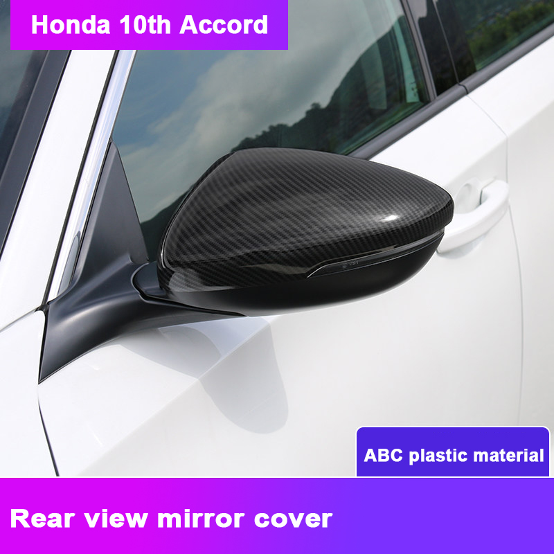 Carbon fiber Car Rear-view Mirror Covers Shell Rearview Mirror Edge Guards Cover For <font><b>Honda</b></font> <font><b>Accord</b></font> 10th <font><b>2018</b></font> <font><b>Accessories</b></font> image