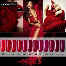 Modelones 12 шт./лот классический красный цвет серии УФ-гель для ногтей наборы замочить УФ-гель для дизайна ногтей лак 7 мл Вишневый красный УФ-лак