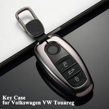 1pc Styling Car Key Case Cover Shell with Chain Protector Storage Decoration Accessories for Volkswagen VW Touareg