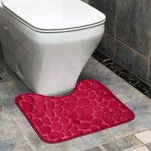 Bathroom Toilet floor Mat Embossing Flannel Floor Rugs Cushion  Bath Mat for Home Decoration cartoon frog style warm keeping flannel toilet mat cushion green