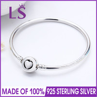 LS High Quality Real 925 Silver Moments Loving Heart Clasp Bangle Fit Original Charms Beads Pulseira