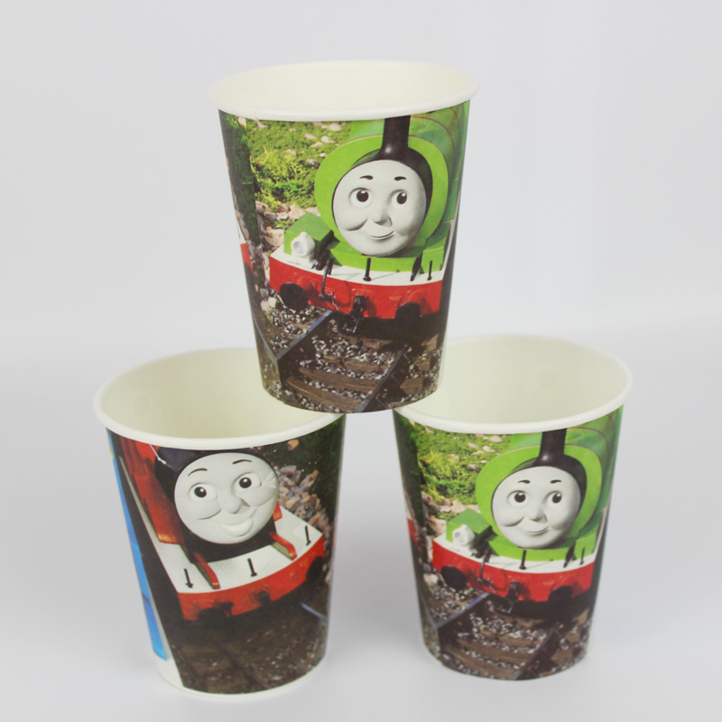 12pcs happy birthday party decoration disposable tableware paper <font><b>cups</b></font> <font><b>Thomas</b></font> and his friends cartoon pattern Kids Party supplies