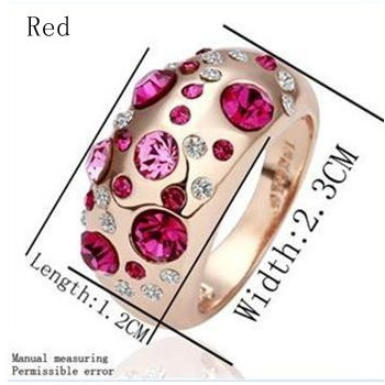 18KGP 18K Gold Plated Ring Health Jewelry Golden Rhinestone Austrian Crystal SWA 036