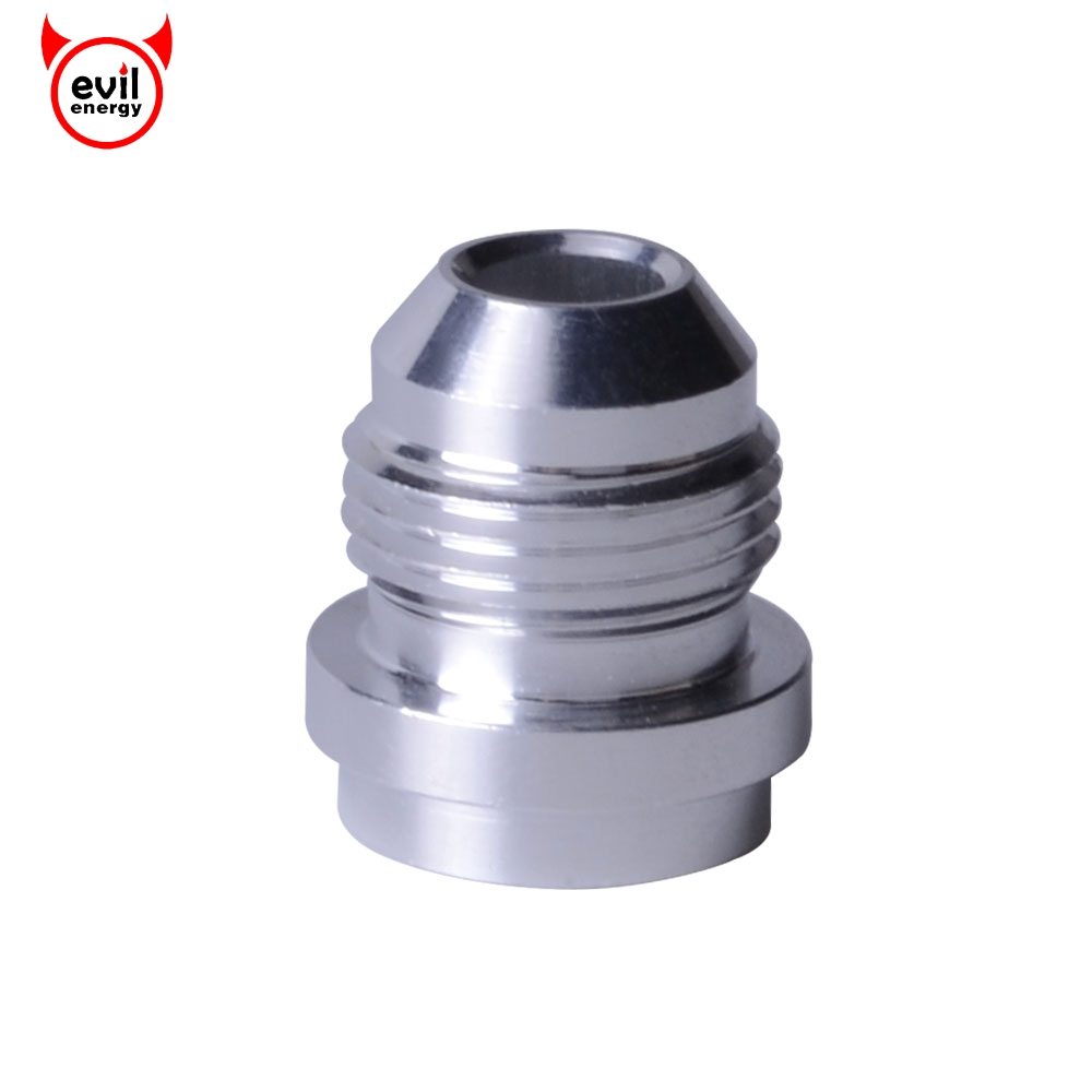 evil energy AN8 AN 8 Male Aluminum Weld Bungs Weld Adapter On Fitting Round Base High Quality Silver