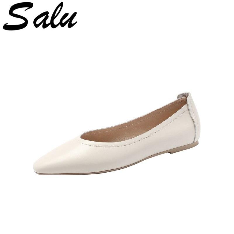 Salu Women Pumps Fashion Women Shoes low Heel Genuine Leather Sexy Casual Shoes Ladies Pumps Size