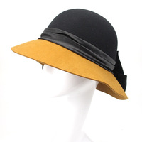 Vintage Hat For Women 100% Wool Felt Wide Brim Elegant Fedoras Handmade Bowknot British Style Lady Formal Hat M139
