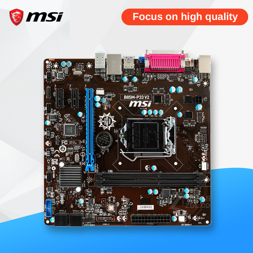 MSI B85M-P33 V2 Original Used Desktop Motherboard B85 Socket LGA 1150 i3 i5 i7 DDR3 16G SATA3 USB3.0 Micro-ATX gigabyte ga b85m d3v a original used desktop motherboard b85m d3v a b85 lga 1150 i3 i5 i7 ddr3 16g micro atx