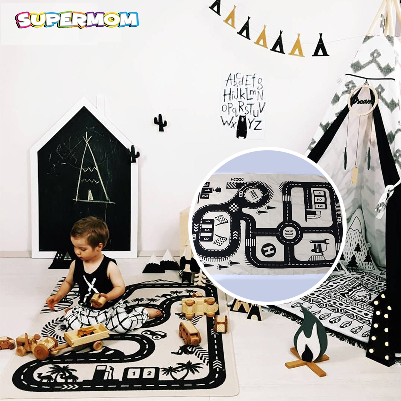 Road Pattern Baby Play Mat Child puzzle Mat Crawling Carpet Kid Game Pad Exploring Educational Play Rug Boy Room Decoration 120cm play mat baby blanket inflant game play mats carpet child toy climb mat indoor developing rug crawling rug carpet blanket