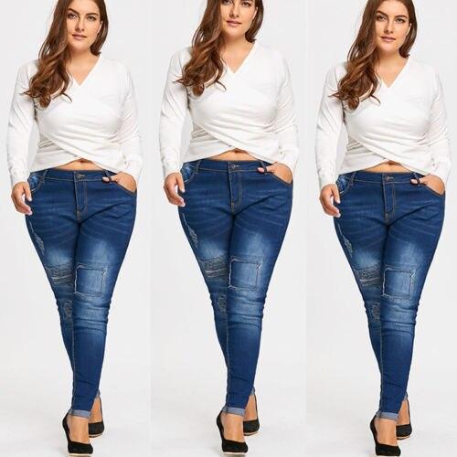 2018 New Fashion Women Slim Juans Women Destroyed Ripped Distressed Slim Denim Mid Wasit   Jeans   Plus Size   Jeans
