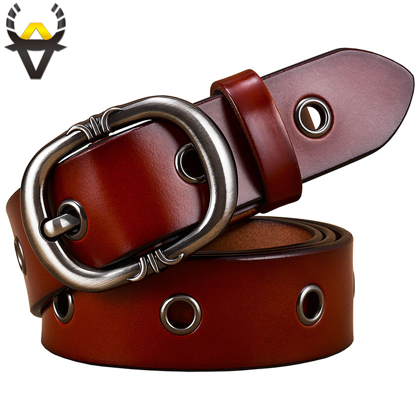 Fashion Metal Hollow Genuine Leather Belts For Women Quality Pin Buckle Belt Woman Cow Skin Waist Strap For Jeans Width 2.8 Cm