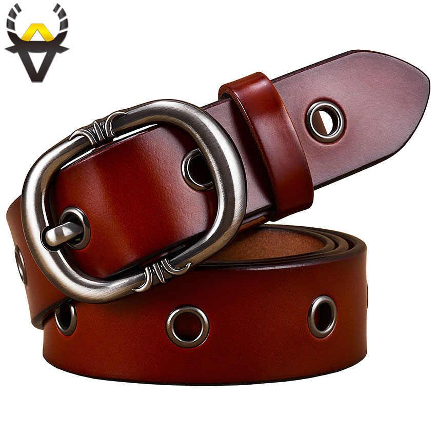 Mode métal creux en cuir véritable ceintures pour femmes qualité boucle ardillon ceinture femme peau de vache ceinture pour jean largeur 2.8 cm