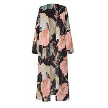 Vintage Floral Chiffon Loose Shawl Kimono Cardigan RK