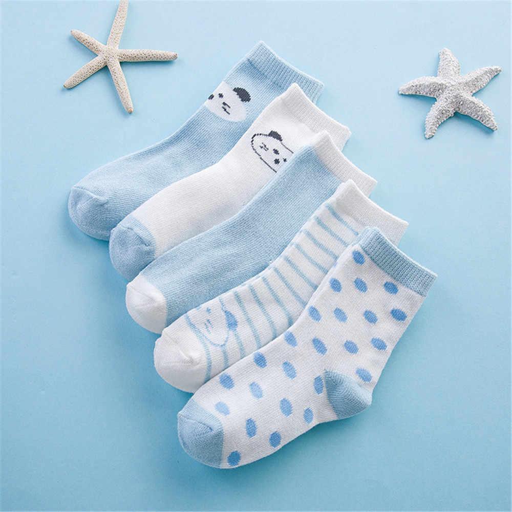 Зима-весна, хит продаж, 5 пар, милые носки с рисунками для малышей Мягкая Детская Хлопковая одежда для новорожденных удобные носки до щиколотки для От 0 до 10 лет