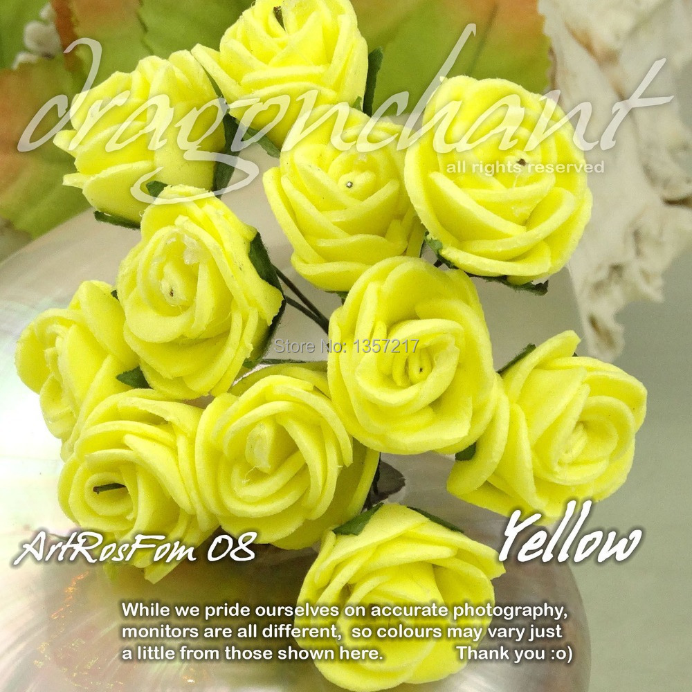 Free Shipping Solid Yellow Color Size 20mm Head Pe Rose Foam Flower