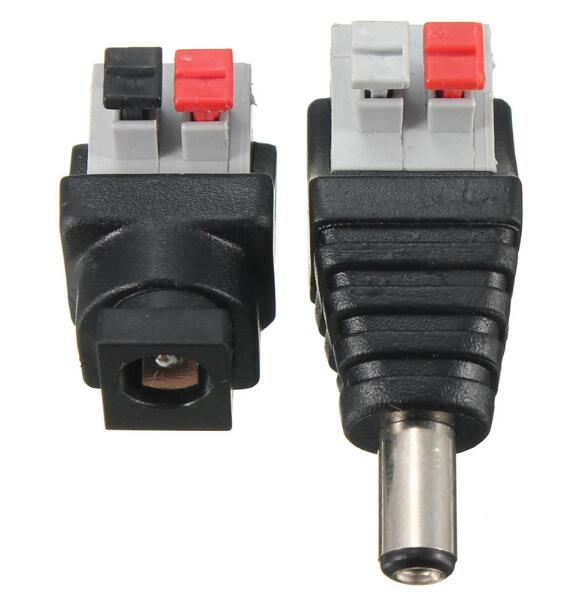 Jiguoor DC Power Male Female 5.5*2.1mm Connector Adapter Plug Cable Pressed for LED Strips 12V