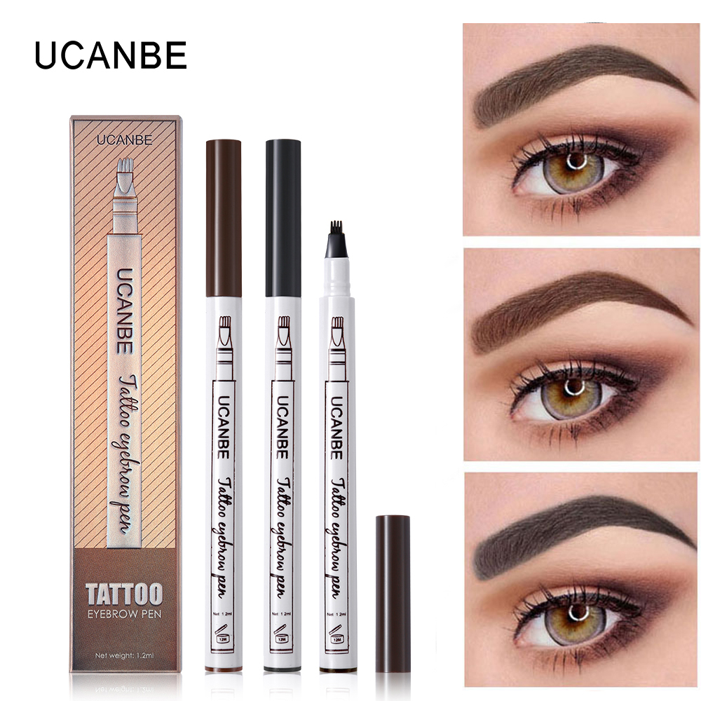 UCANBE 3 Color Liquid Eyebrow Pencil Makeup Waterproof Long-lasting Durable Tattoo Pigmented Natural Eye Brow Pen Cosmetics