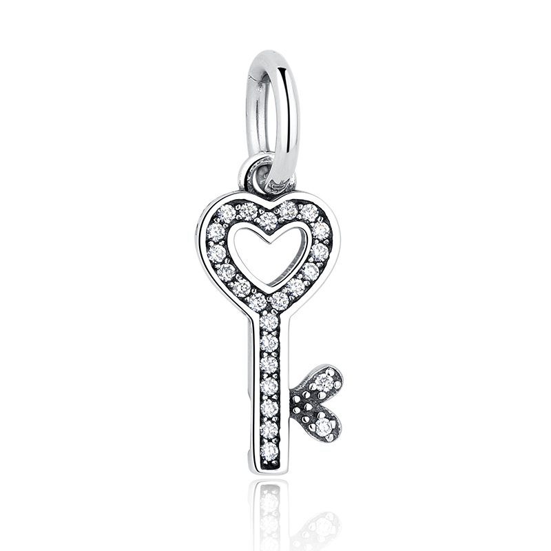 Authentic 925 Sterling Silver Symbol Of Trust Love Heart Key Pendant