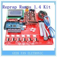 Reprap Rampas 1.4 + kit de Mega 2560 + Heatbed mk2b + 12864 Controlador LCD + DRV8825 + Tope Final Mecánico + Cables Para 3D impresora