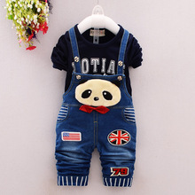 New Autumn Thick Warm Kids Boy Girl  Clothes Set Long Sleeve Tops + Long Suspender Trousers