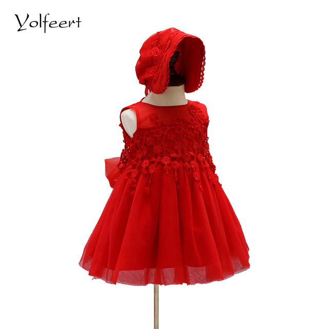 YOLFEERT Baby Girl Pageant Wedding Dresses With Hat Infant Princess Girls 1 Year Birthday Party Dress Newborn Christening Gowns