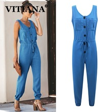 VITIANA Women Casual Jumpsuit Summer 2019 Female Sleeveless Pockets Buttons Rompers Womens Jumpsuits Ladies Formal Office Romper