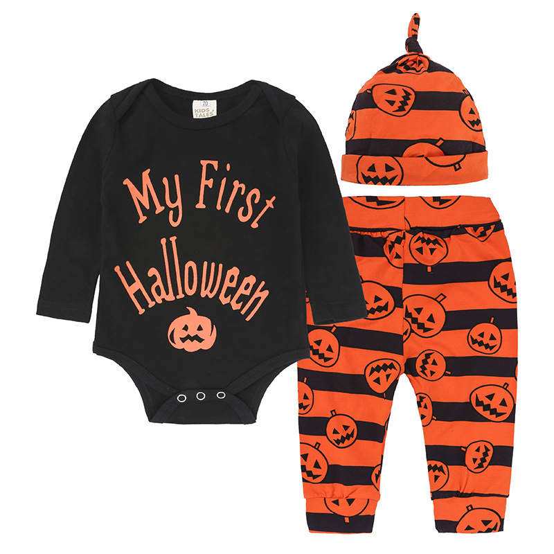 (4Pcs/Lot) 2018 Halloween Full Sleeve Clothes Cotton Kids Rompers +Cartoon Baby striped Jumpsuit Boys Infant Pumpkin Romper Sets kids ruffle tie neck striped romper