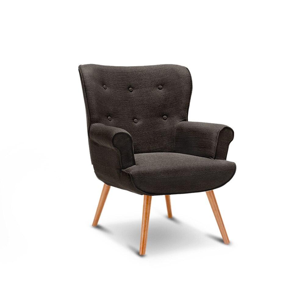 iKayaa Single Sofa Linen Fabric Tufted Chair Armchair Padded Living ...
