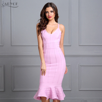Adyce 2017 Women Summer Bandage Dress Pink Spaghetti Strap Mermaid Vestidos V Neck Knee Length Celebrity