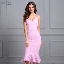 Adyce 2017 Women Summer Bandage Dress Pink Spaghetti Strap Mermaid Vestidos V-Neck Knee Length Celebrity Evening Party Dresses