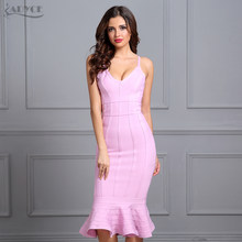 a1c5485a19df8a Adyce Wanita Musim Panas Perban Gaun 2018 Pink Spaghetti Strap Putri Duyung  Vestidos V-neck Midi Selebriti Gaun Pesta Malam Club.