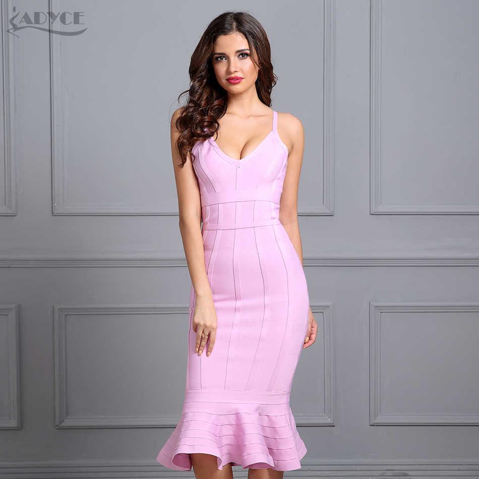 13b1afc6fb6 Adyce женское летнее Бандажное платье 2019 розовый бретелька Русалка  Vestidos v-образный вырез миди Клубная