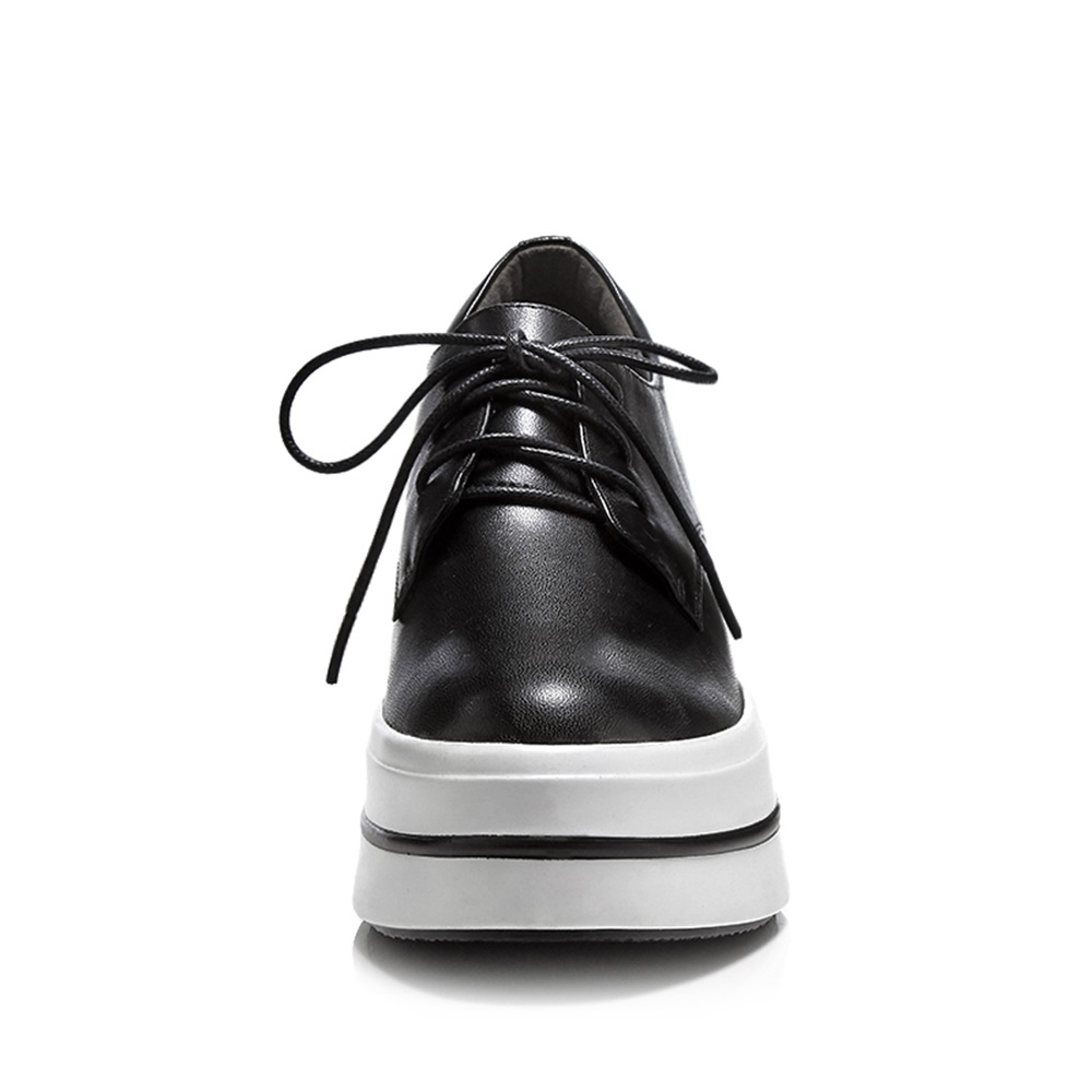 Femmes Pompe Rond Femme Talon Nouveau blanc Augmenté Bout Asumer Lacent forme Véritable En Cuir Chaussures 2018 Noir Interne Blanc Plate Noir Haute wqvvXZ6T