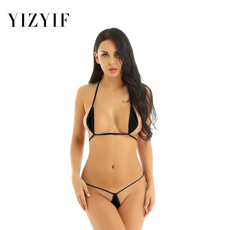 Sexy Bikini Set Exotic Mini Micro Bikini Teardrop Halterneck Bra Top With G-String Thong Bikinis 2019 Women Swimwear Swimsuit