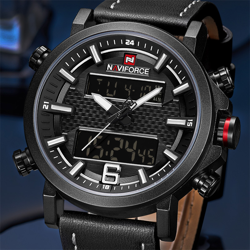 NAVIFORCE Mens Watches Top Brand Luxury Sports Watch Men Fashion Casual Leather Clock Waterproof Quartz Watch Relogio Masculino naviforce fashion casual mens watches top brand luxury leather business quartz watch men wristwatch male clock relogio masculino