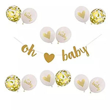 Baby Shower Decorations Neutral Decor Strung Banner (OH BABY) & 12PC Balloons w/ Ribbon [Gold, Confetti, White] Kit Set