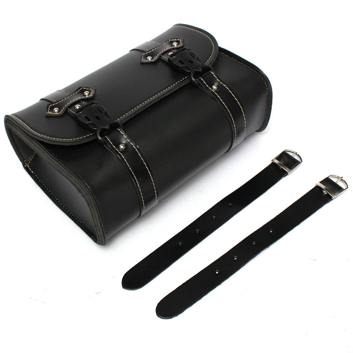 AUTO Universal Moto Saddle Pouch Bag Storage Tool in Leather For Harley Davidson Black