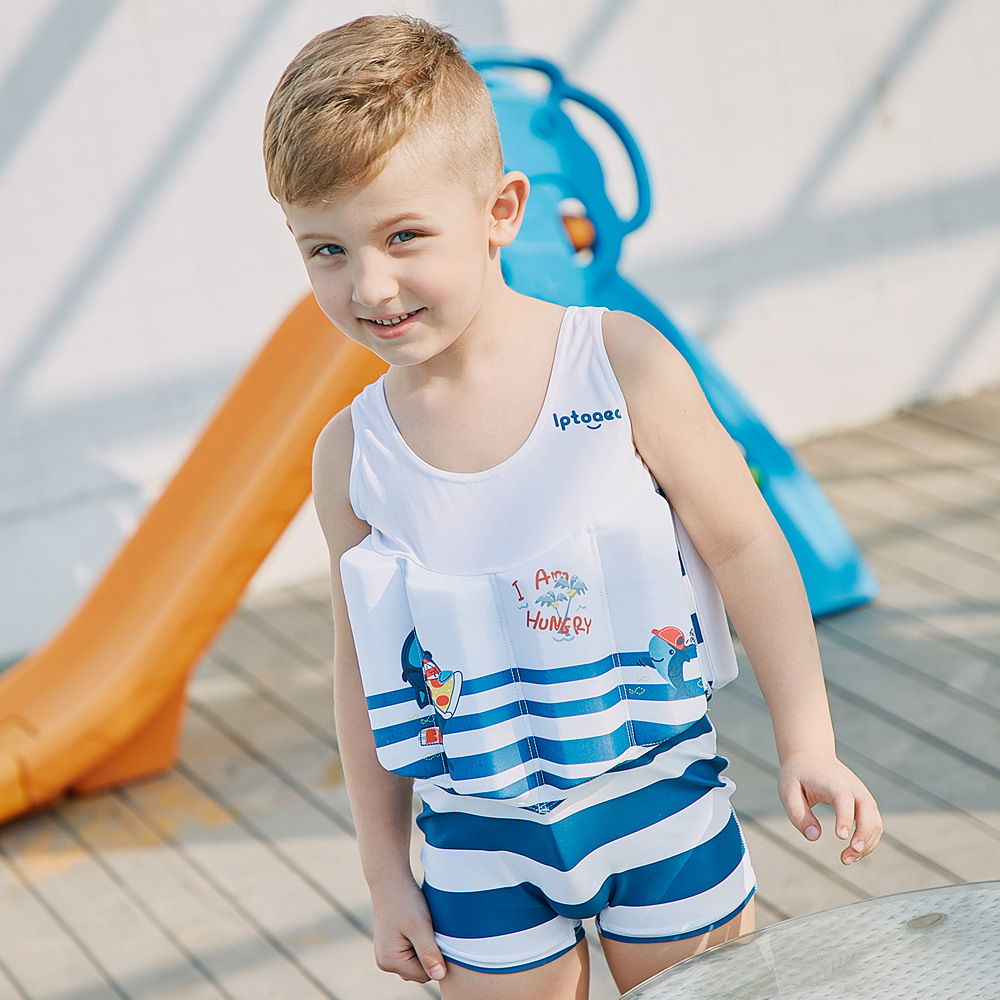 SABOLAY Floating Buoyancy Swimwear Striped Baby Boys Swimsuits One Piece Detachable Training Swimwear Kids Vest Swimming Clothes