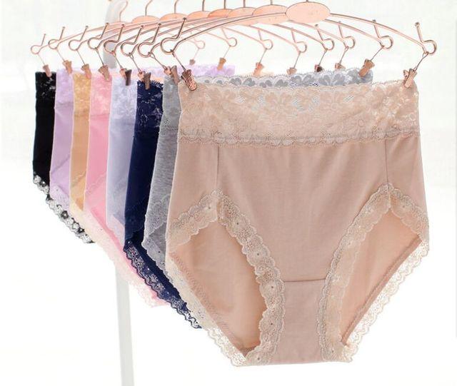 Baru kedatangan Womens Katun Cakupan Penuh Pinggang Tinggi Celana Dalam  Renda Wanita lembut warna solid bernapas c91779dc2b