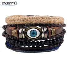 Mens Bracelets 2017  Evil Eye Bracelets For Women Men Wristband Female Owl Leather Bracelet Synthetic Stone Vintage Jewelry
