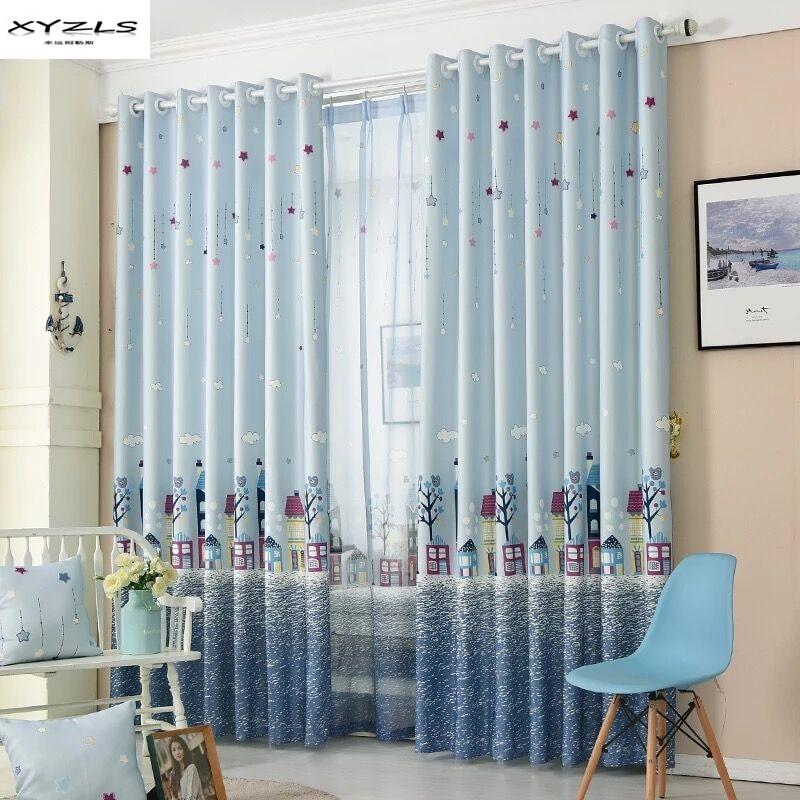 xyzls mar de dibujos animados castillo cortinas para el dormitorio sala de estar cortinas semi