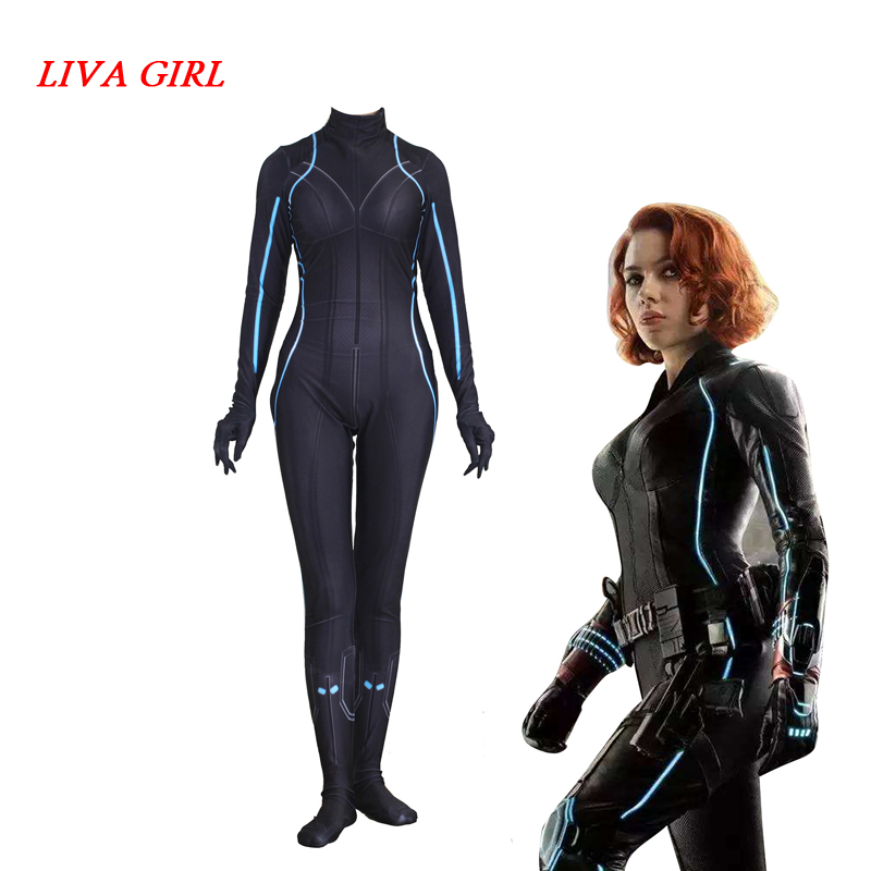 Marvel Avengers Black Widow Cosplay Jumpsuits Siamese Tights Cosplay Costume Halloween Customized Anime 3D Tights Halloween-in Movie & TV costumes from Novelty & Special Use    1