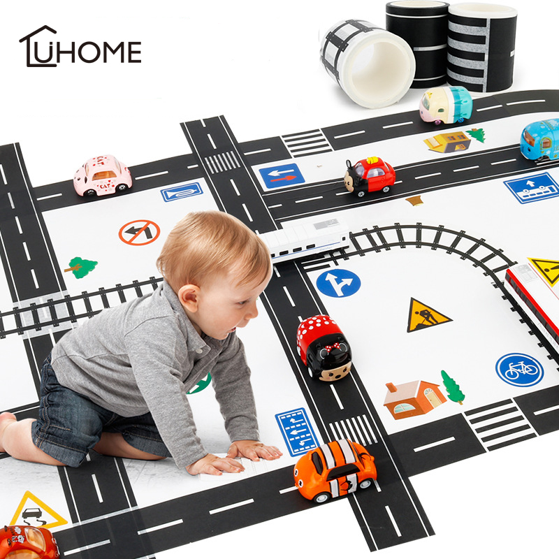11pcs Road Set Railway Road Washi Tape Sticker Wide Creative Traffic Road Adhesive Masking Tape Scotch Road for Kid Toy Car Play-in Wall Stickers from Home & Garden