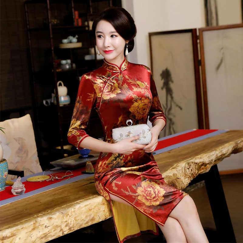 8b055811e615 New Traditional Chinese Dress Women Half Sleeves Vestidos Vintage Qipao  Sexy Cheongsam Flower Print Slim Party