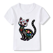2017 Children's Cat Sugar Skull Printing Funny T-Shirts Boy and Girls Summer Tees Kids Novelty Punk Rose Tops Baby Shirt,HKP2051