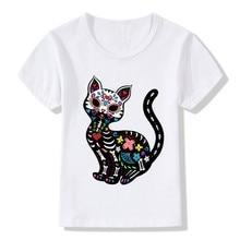 2017 Children's Cat Sugar Skull Printing Funny T-Shirts Boy and Girls Summer Tees Kids Novelty Punk Rose Tops Baby Shirt,HKP2051