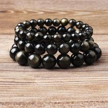 Lingxiang 7ANatural obsidian gold bracelet 4mm-12mm bead quartz