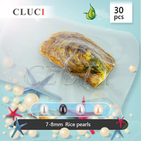CLUCI 30pcs 7 8mm freshwater oval pearl oyster in single package, natural pearls in oysters for women jewelry making